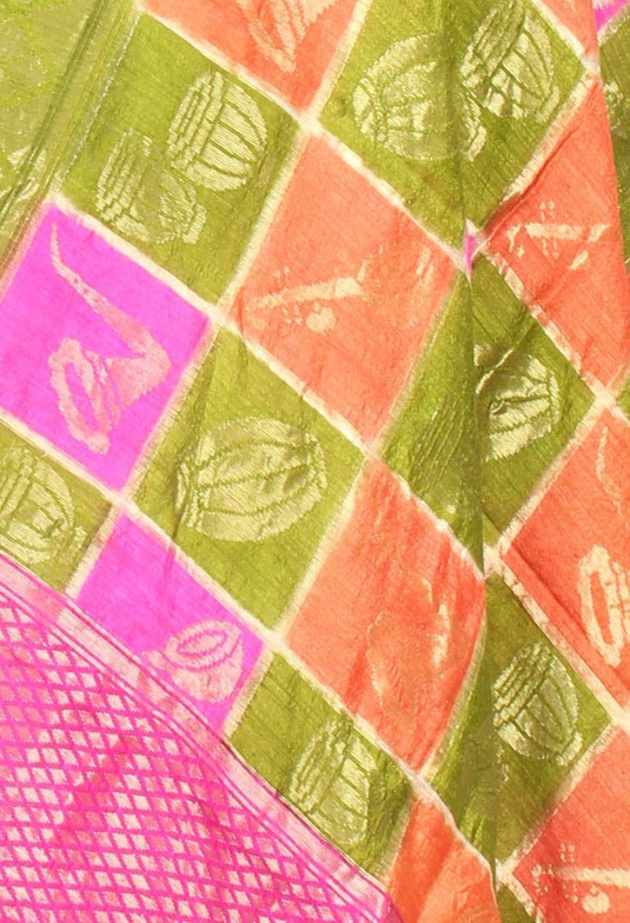 Multi color Dupion Silk Banarasi Dupatta with musical instruments motifs (2) closeup