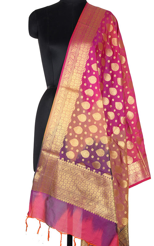 Multi color Ikat dyed Banarasi dupatta with leaf shape booti (1) Main