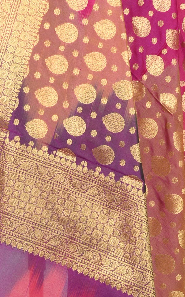 Multi color Ikat dyed Banarasi dupatta with leaf shape booti (2) Closeup