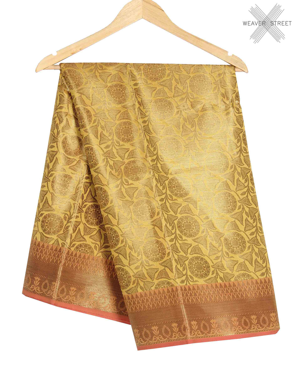 Mustard Banarasi saree with lotus jaal (1) main