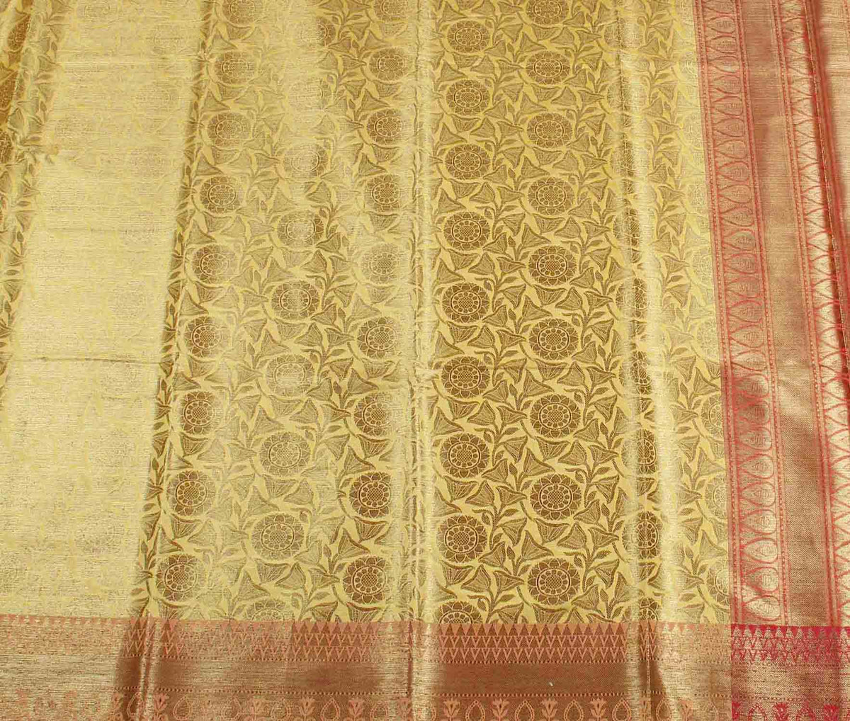 Mustard Banarasi saree with lotus jaal (2) flat