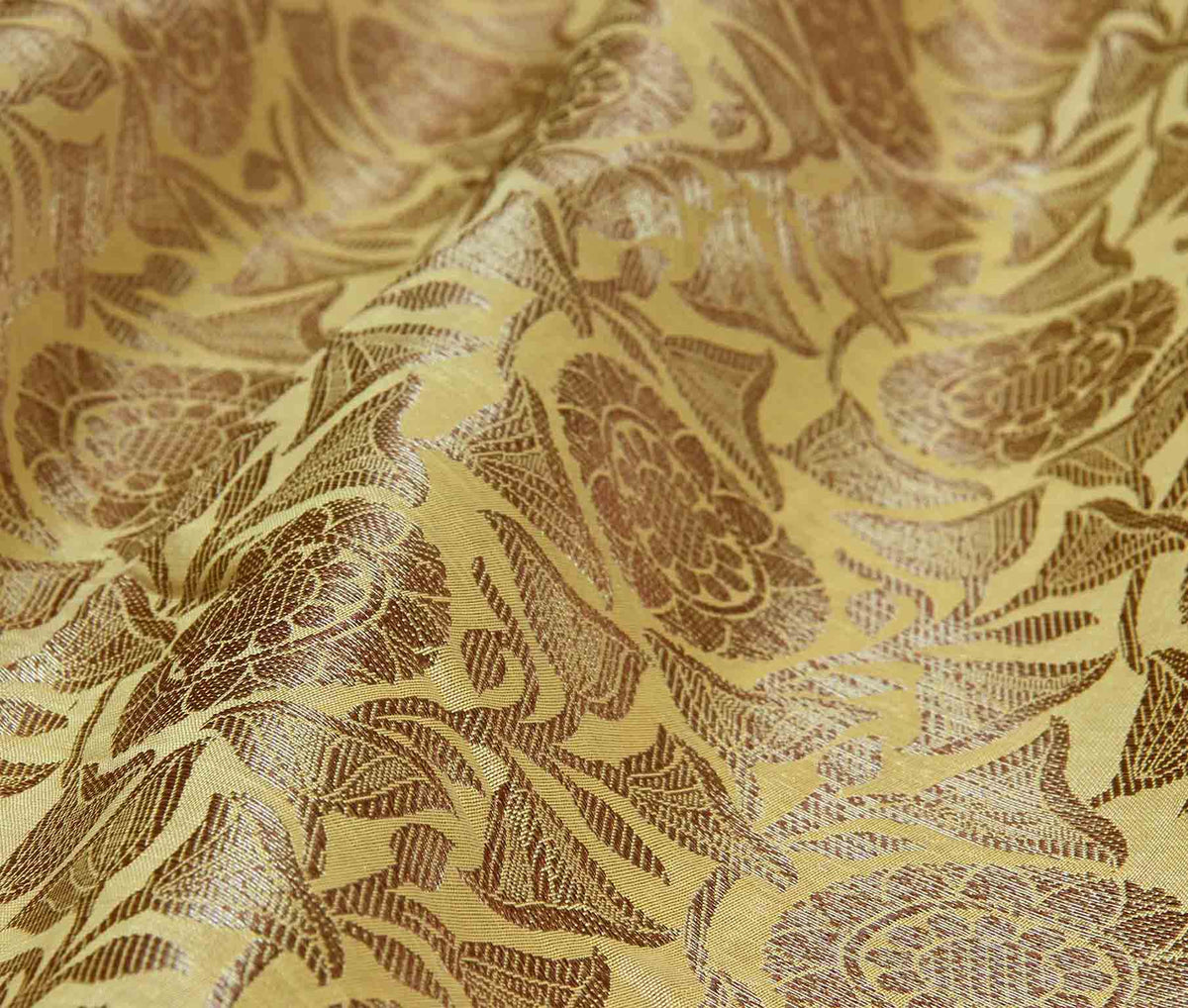 Mustard Banarasi saree with lotus jaal (3) closeup