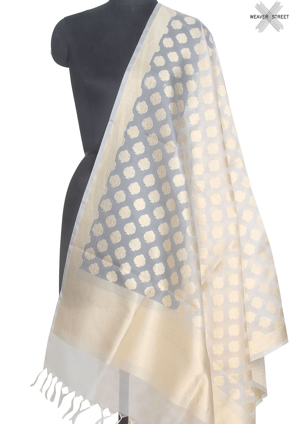 Natural Kora silk handwoven Banarasi dupatta with leaf shape buti (1) Main