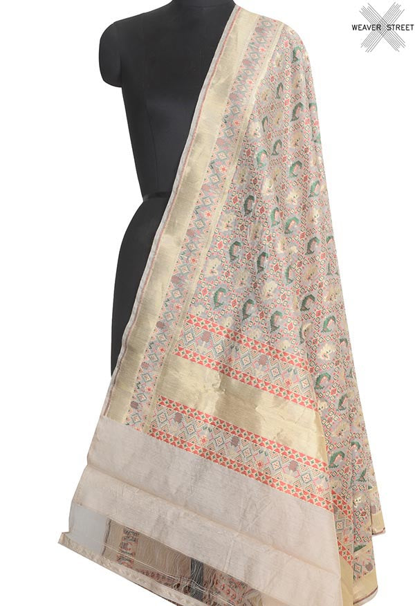 Natural Muga silk Handwoven Banarasi dupatta with patola jaal (1) Main