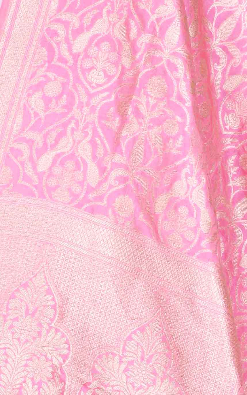 Neon pink katan silk Banarasi dupatta with intricate peacock jaal (2) Close up
