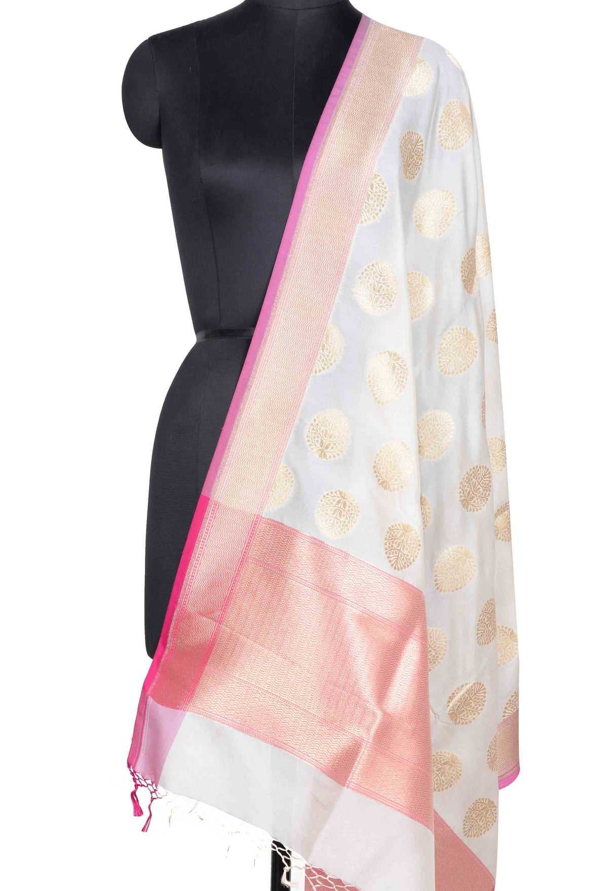 Off White Banarasi dupatta with plant like elliptical motif (1) Main