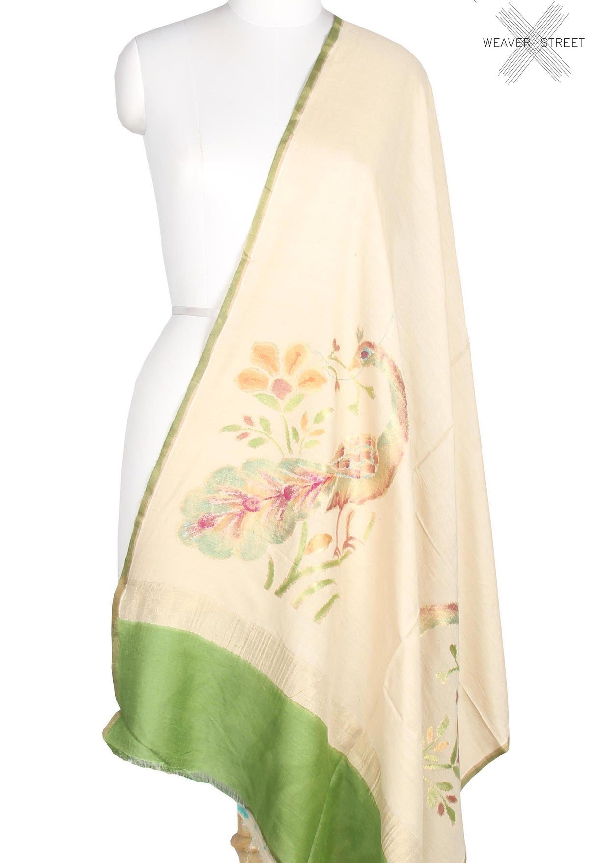 Off White Muga Silk Handwoven Banarasi Dupatta with peacock boota konia (1) main