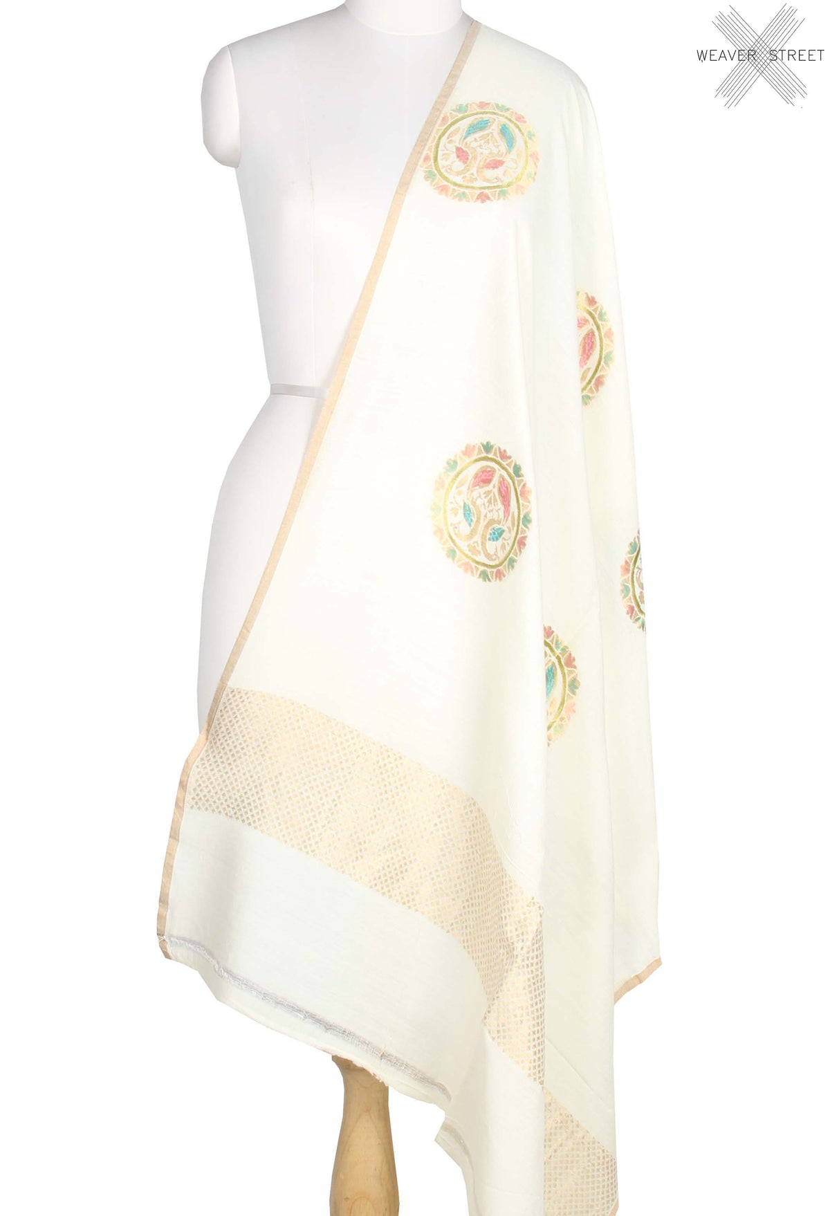 Off White Muga Silk Handwoven Banarasi Dupatta with peacock in round motif (1) main