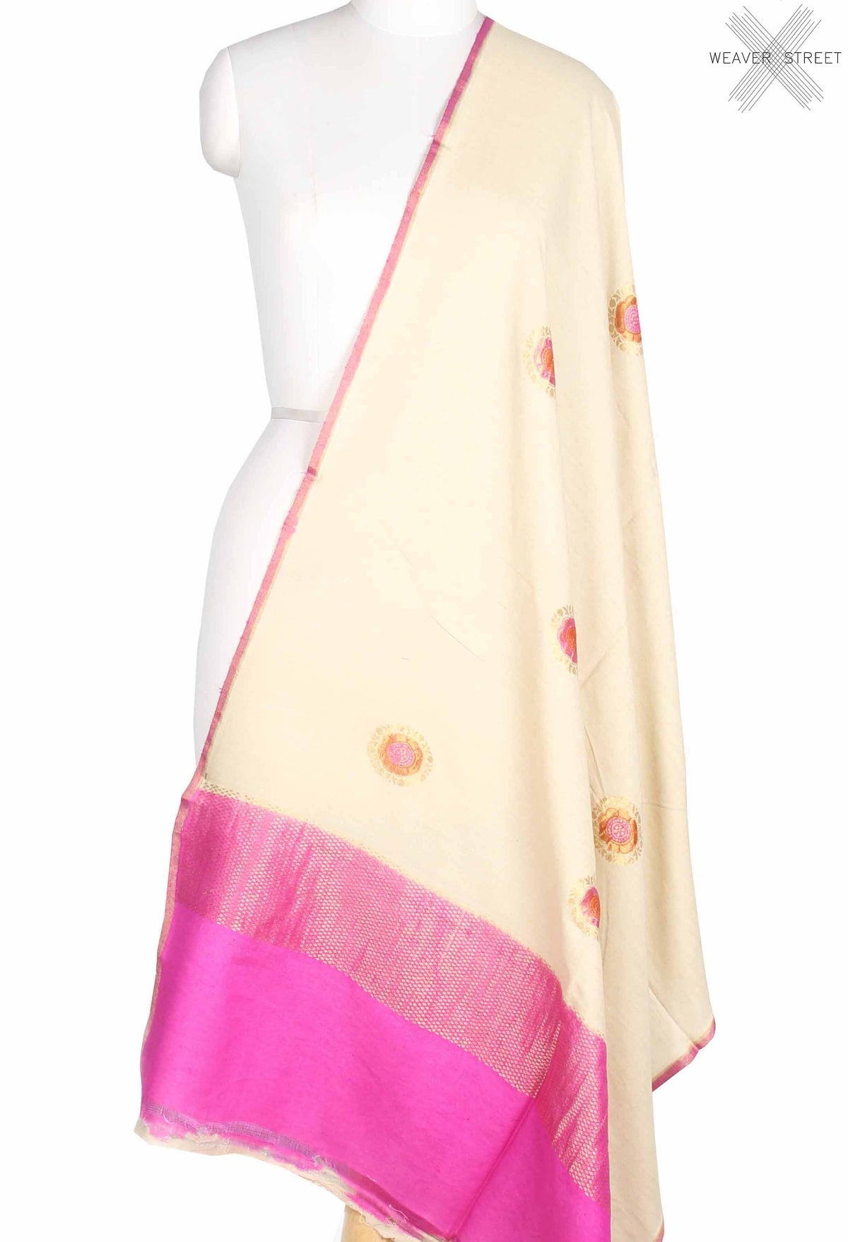 Off White Muga Silk Handwoven Banarasi Dupatta with round motifs (1) main