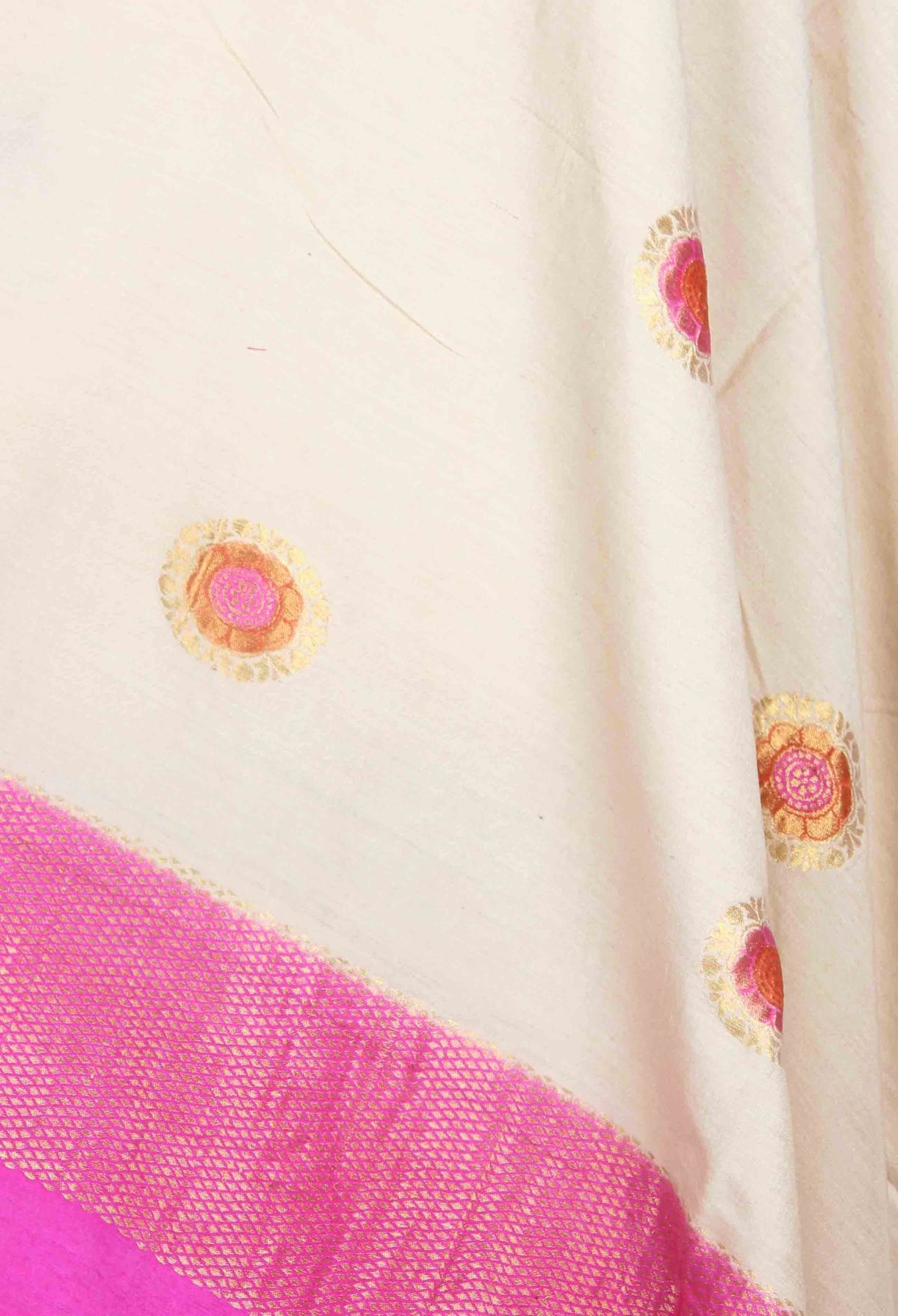 Off White Muga Silk Handwoven Banarasi Dupatta with round motifs (2) closeup