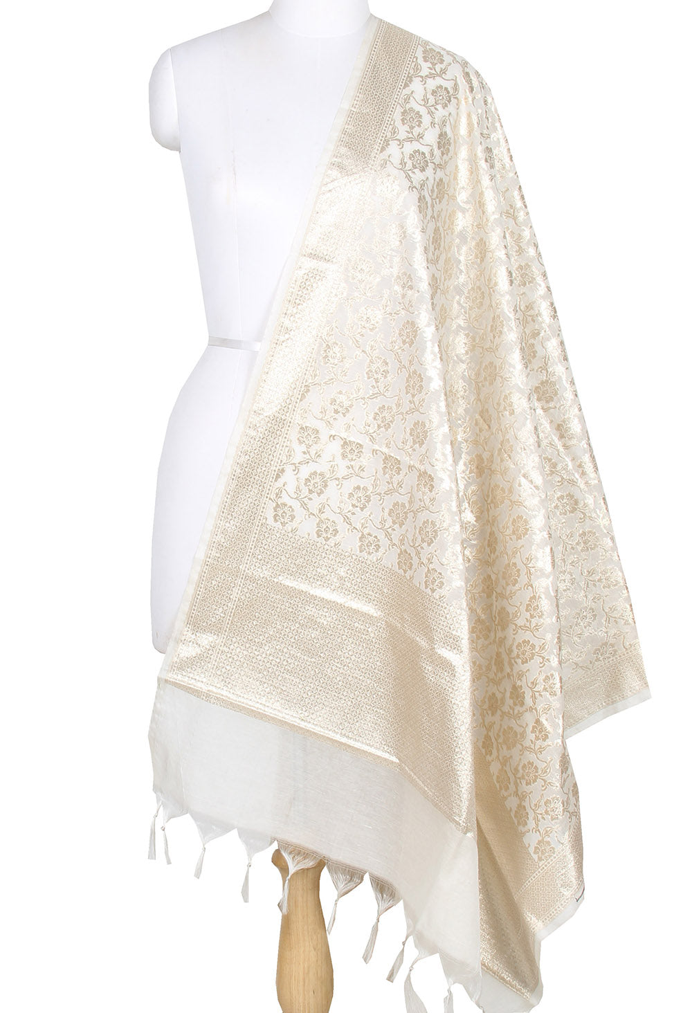 Off white Cotton Banarasi dupatta with delicate flower jaal (1) main