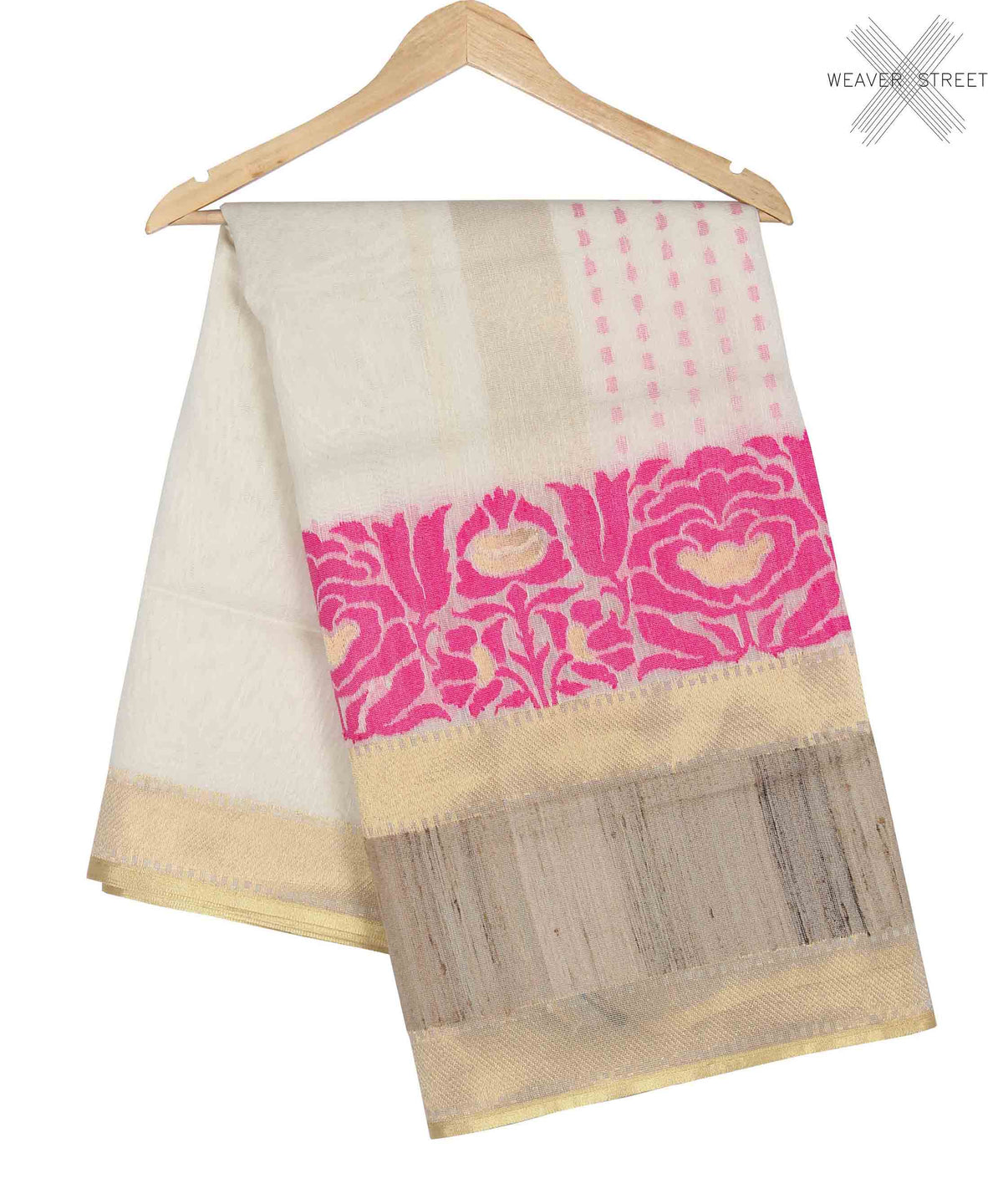 Off white Kora Silk net handwoven Banarasi Saree with ghichcha skirt (1) main