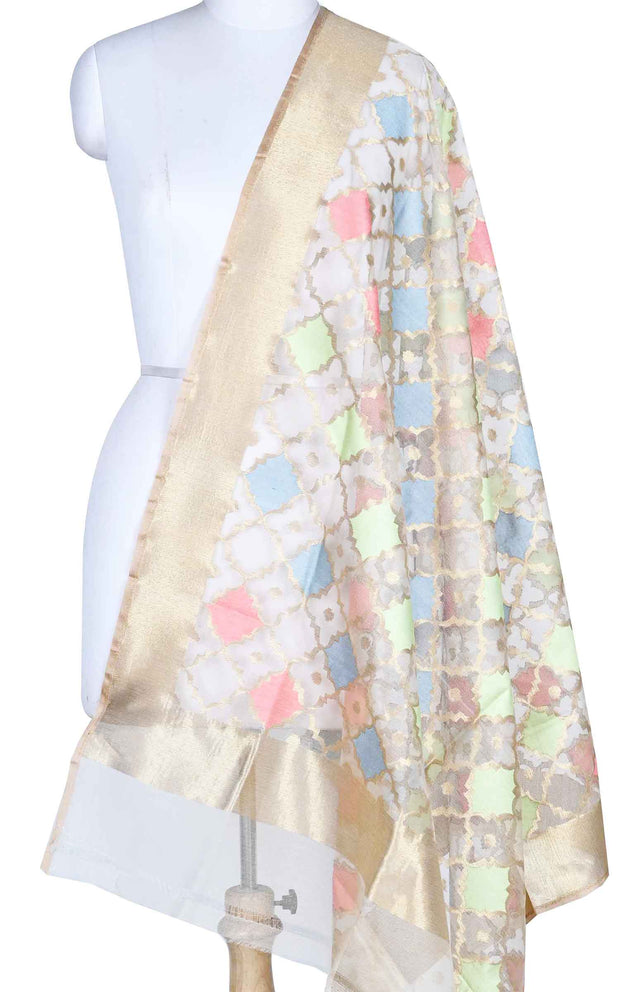 Off white kora silk Banarasi dupatta with meenedar grid pattern jaal (1) Main
