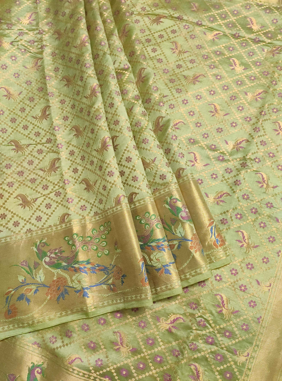 Olive green Muga Chiniya silk Banarasi saree with grid pattern jaal (3) Front