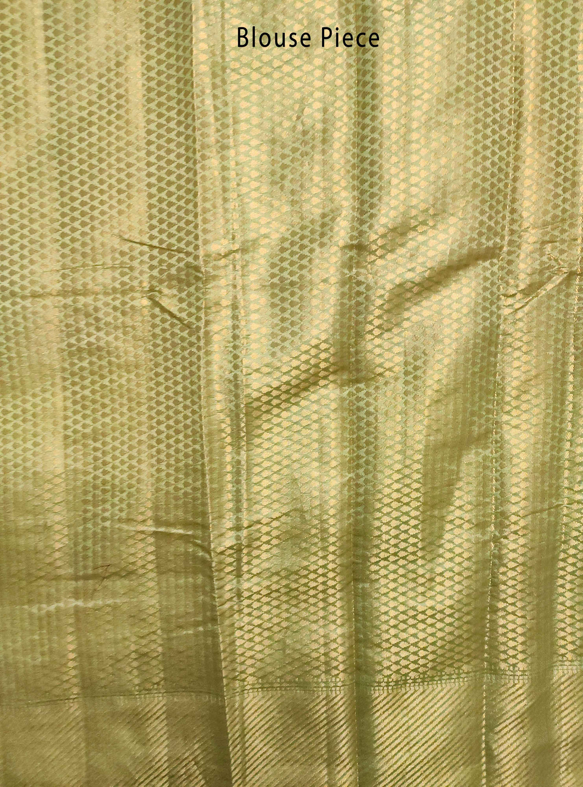 Olive green Muga Chiniya silk Banarasi saree with grid pattern jaal (5) Blouse Piece