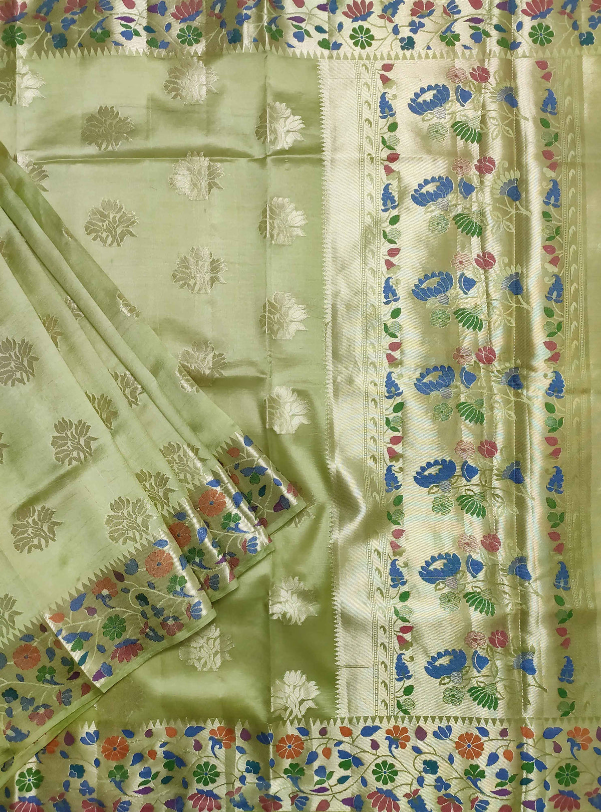 Olive green dupion silk Banarasi saree with flower boota and meenedar border (1) Main