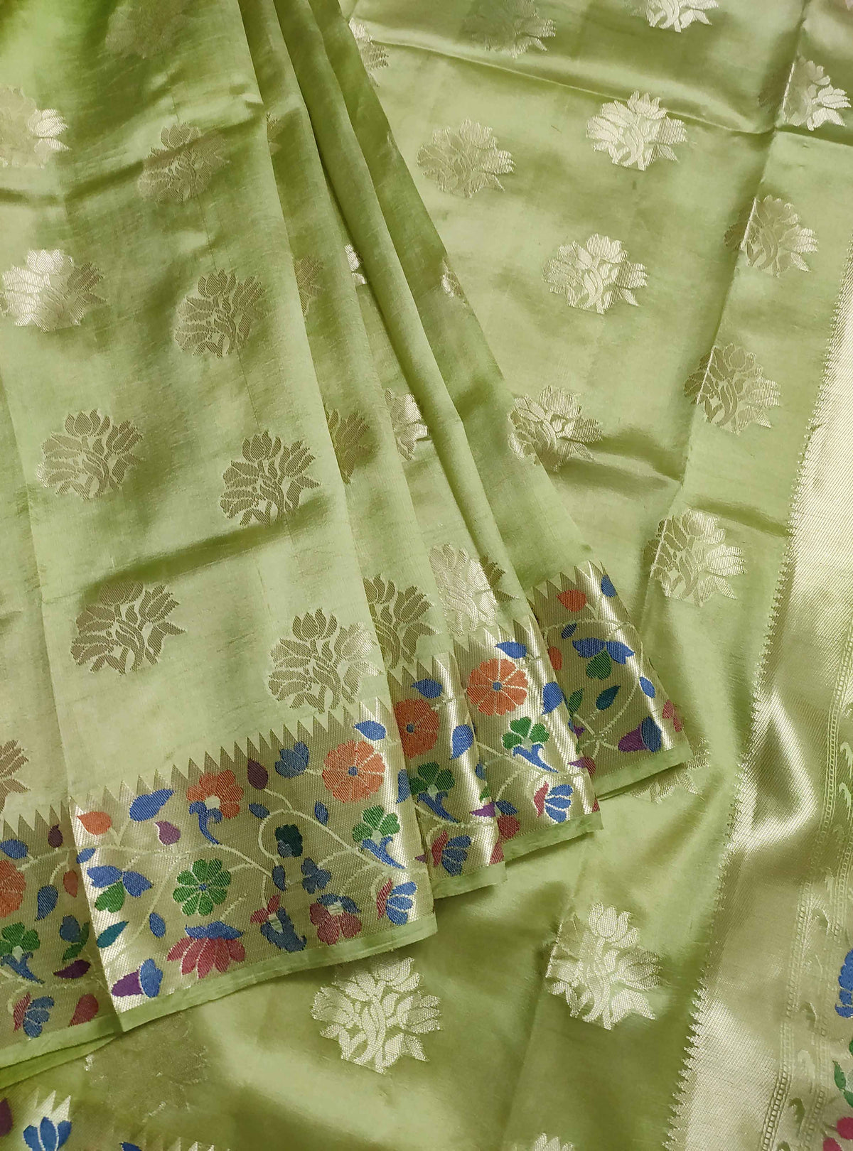 Olive green dupion silk Banarasi saree with flower boota and meenedar border (3) Front