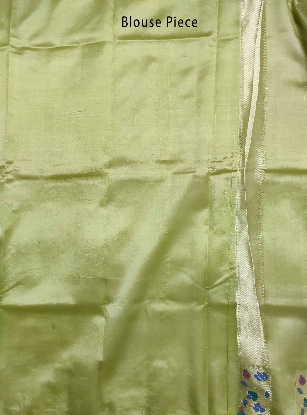 Olive green dupion silk Banarasi saree with flower boota and meenedar border (5) Blouse Piece