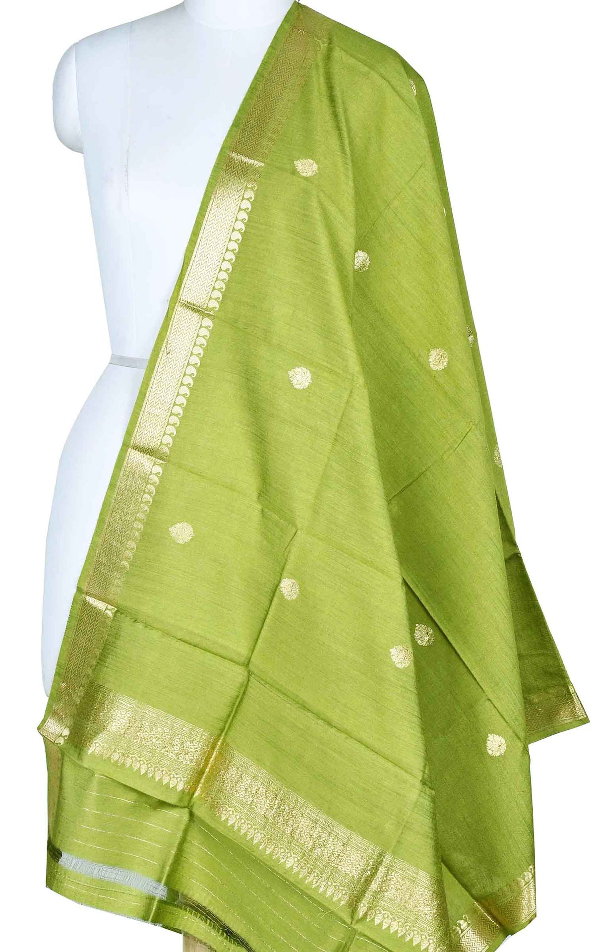 Olive green muga silk Banarasi dupatta with small leaf shape booti (1) Main