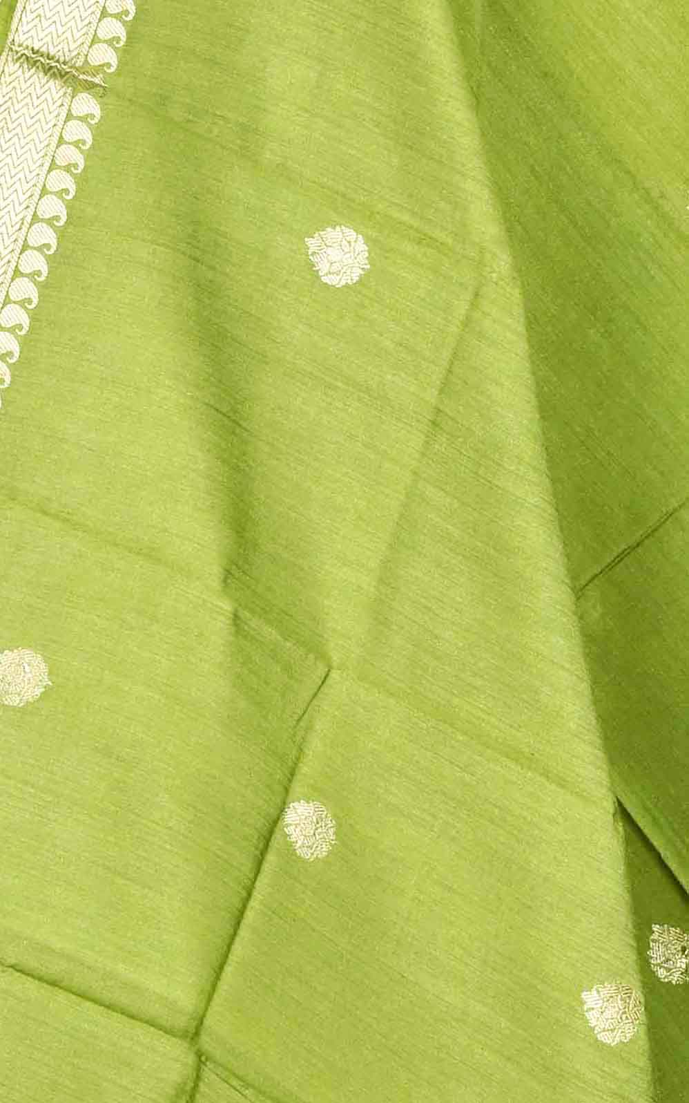 Olive green muga silk Banarasi dupatta with small leaf shape booti(2) Close up