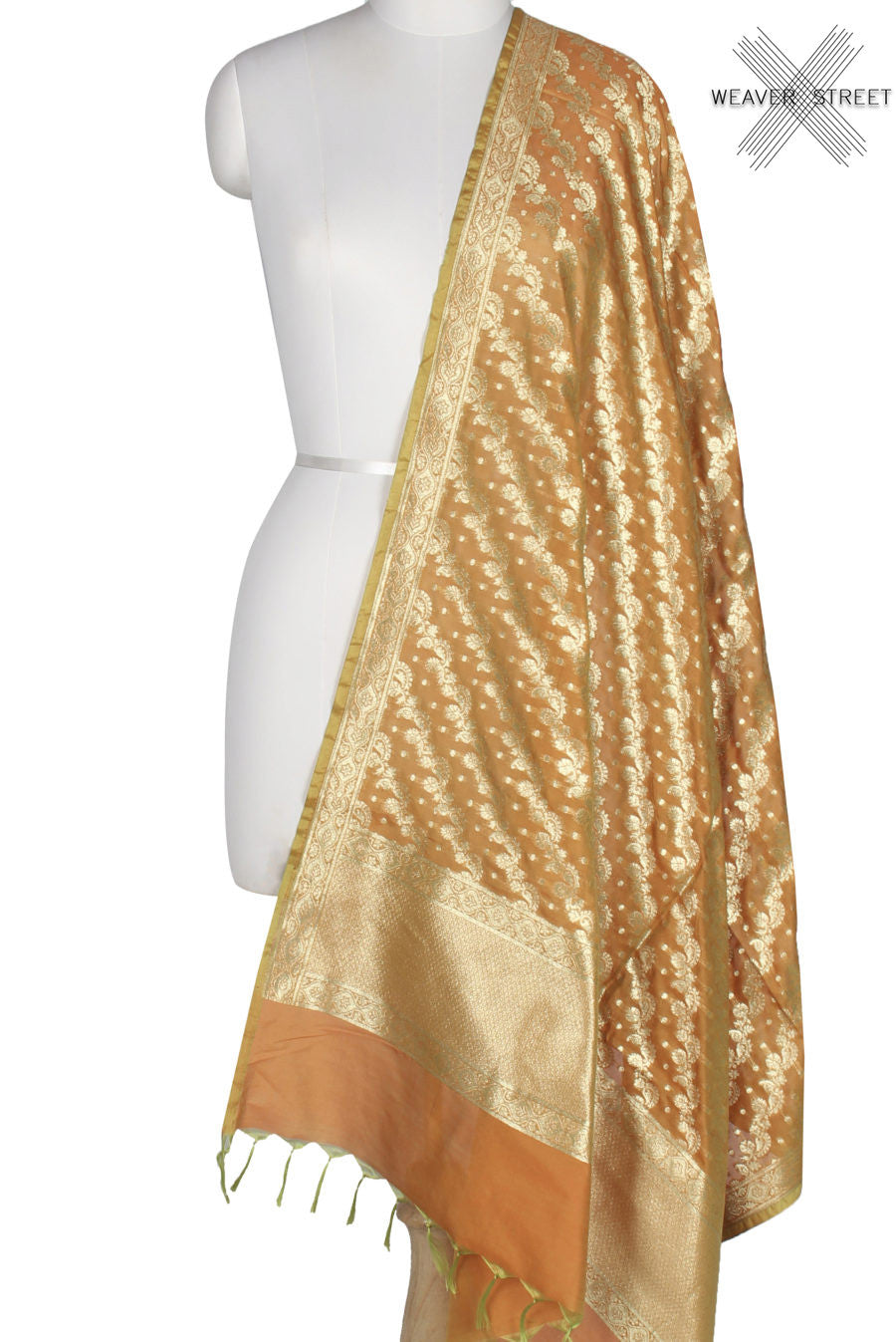 Orange Art Silk Banarasi Dupatta with diagonaly woven artistic jaal (1) Main