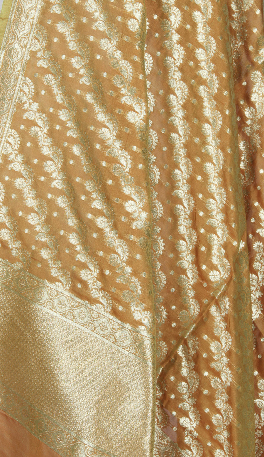 Orange Art Silk Banarasi Dupatta with diagonaly woven artistic jaal (2) Close up