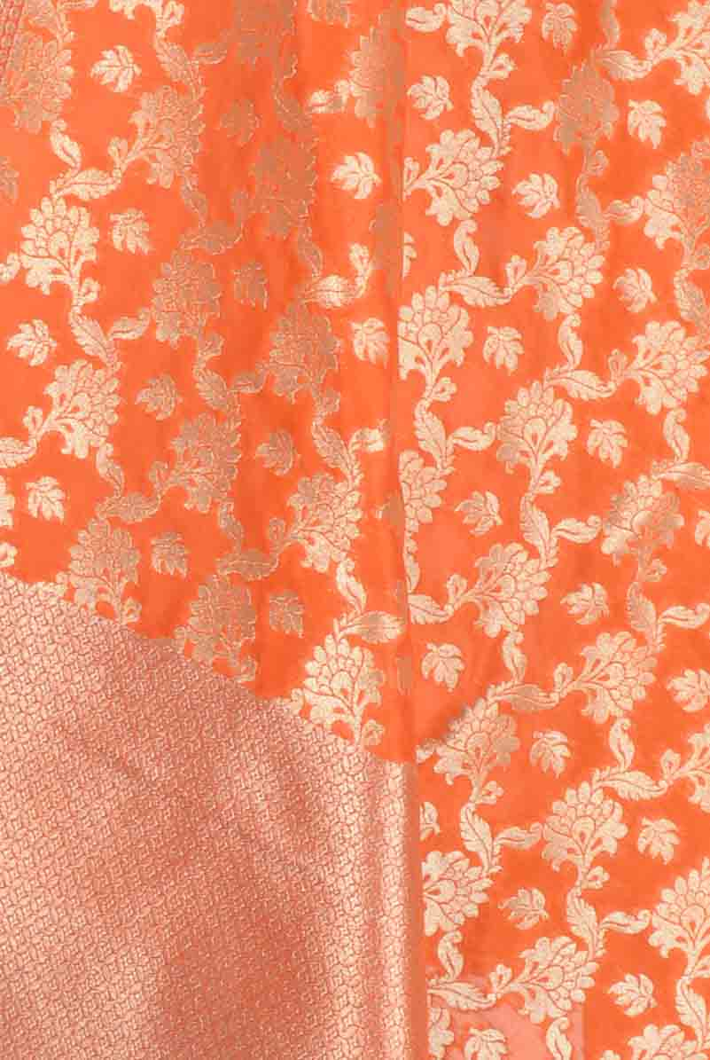 Orange Art Silk Banarasi dupatta with leaf motifs in artistic floral jaal (2) Closeup