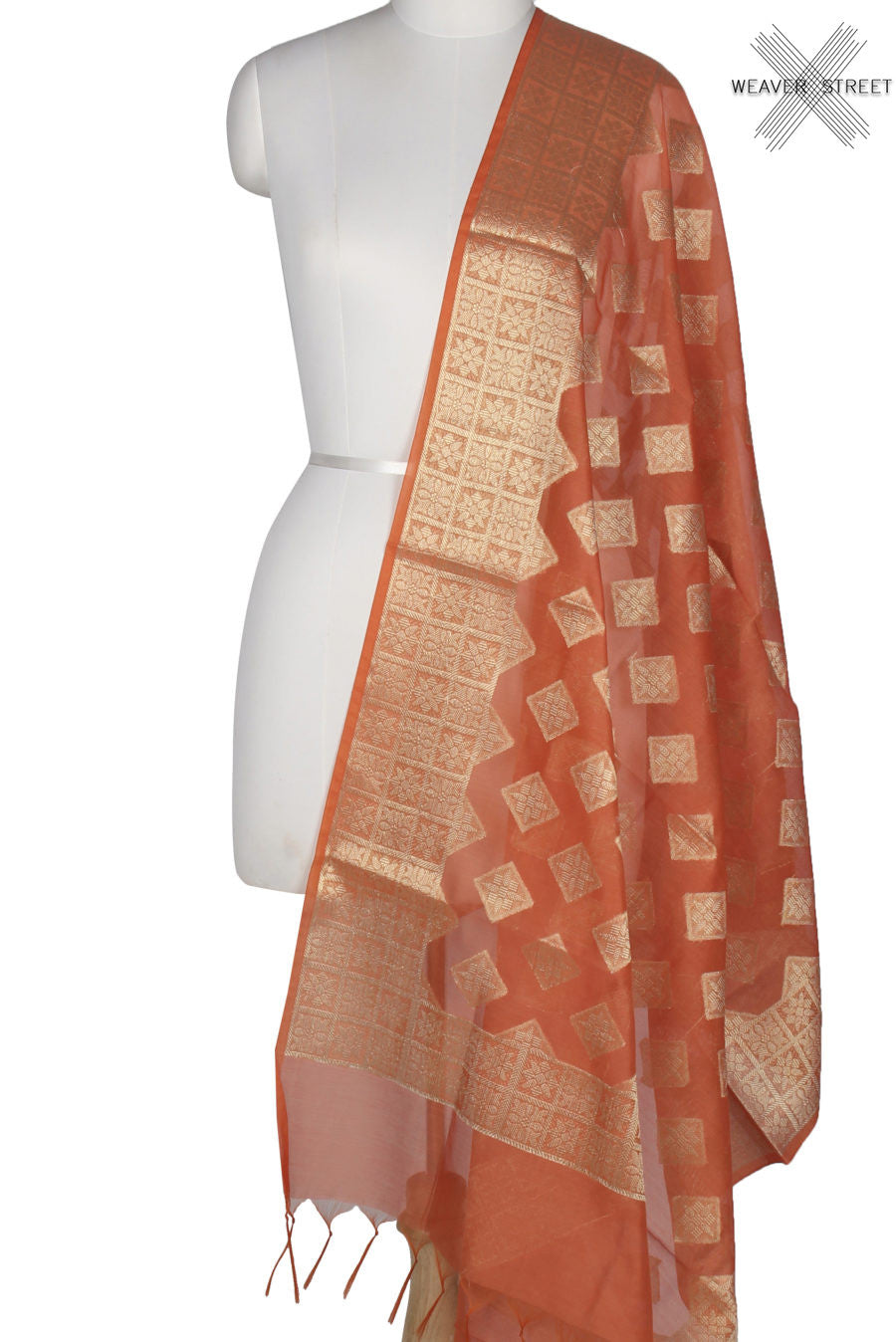 Orange Art Silk Cotton Banarasi Dupatta with diamond shape motifs (1) Main
