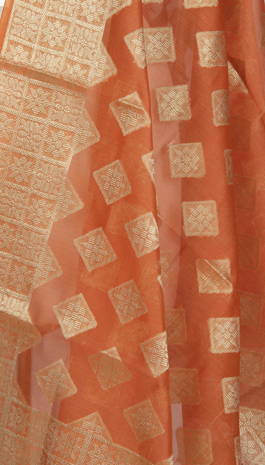 Orange Art Silk Cotton Banarasi Dupatta with diamond shape motifs (2) Close up