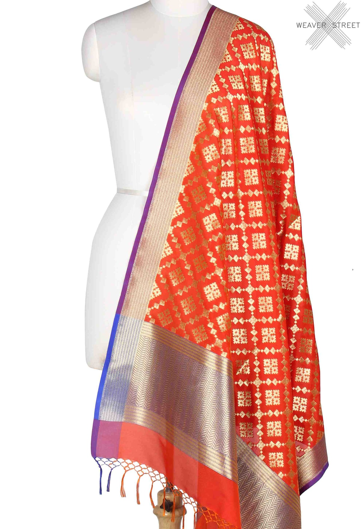 Orange Banarasi Dupatta with geometrical booti in grid jaal (1) Main