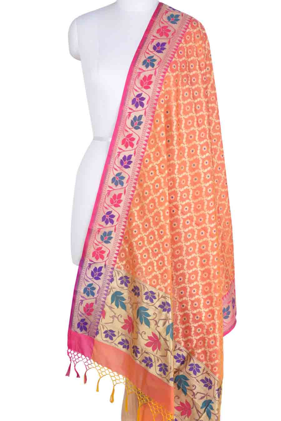 Orange Banarasi Dupatta with leaf jaal and floral motifs (1) Main