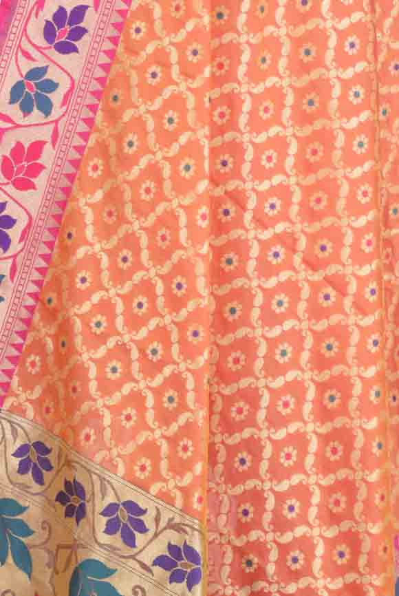 Orange Banarasi Dupatta with leaf jaal and floral motifs (2) Close up