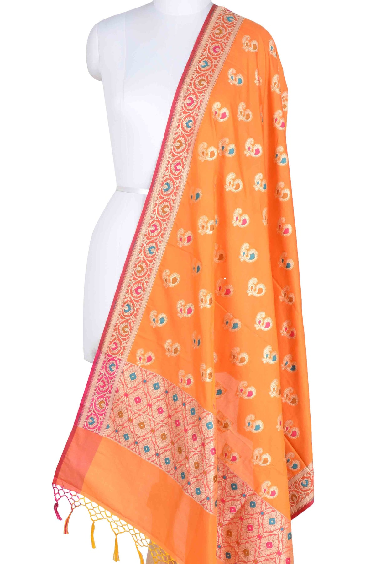 Orange Banarasi Dupatta with multi color peacock motifs (1) Main