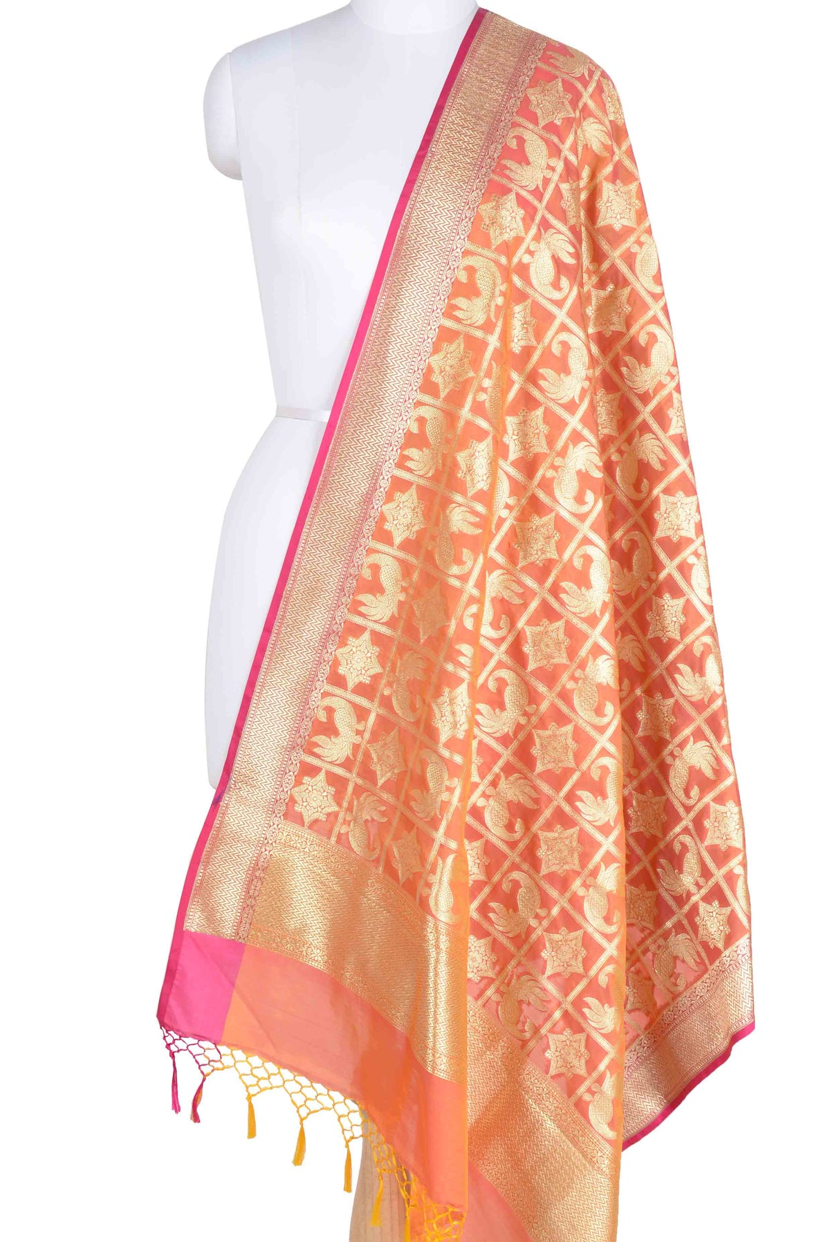 Orange Banarasi Dupatta with peacock and geometric motifs (1) Main