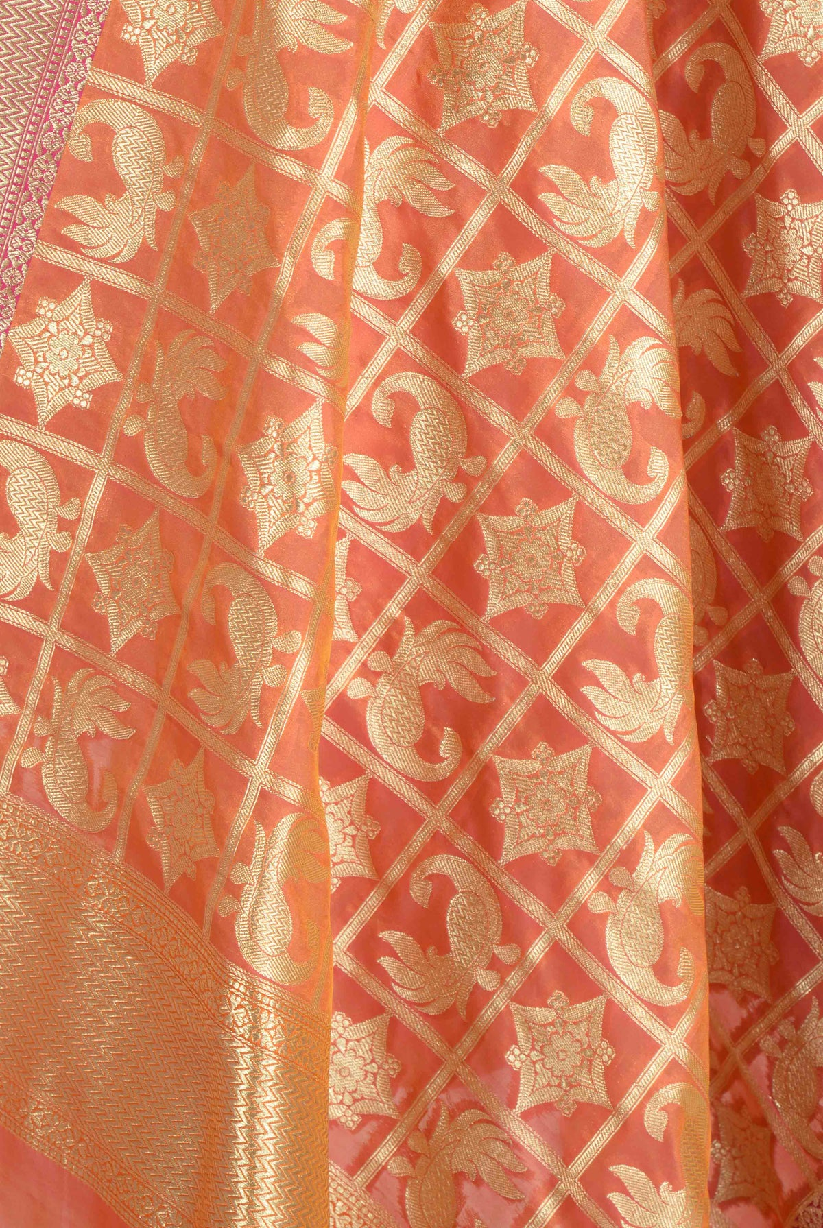 Orange Banarasi Dupatta with peacock and geometric motifs (2) Closeup