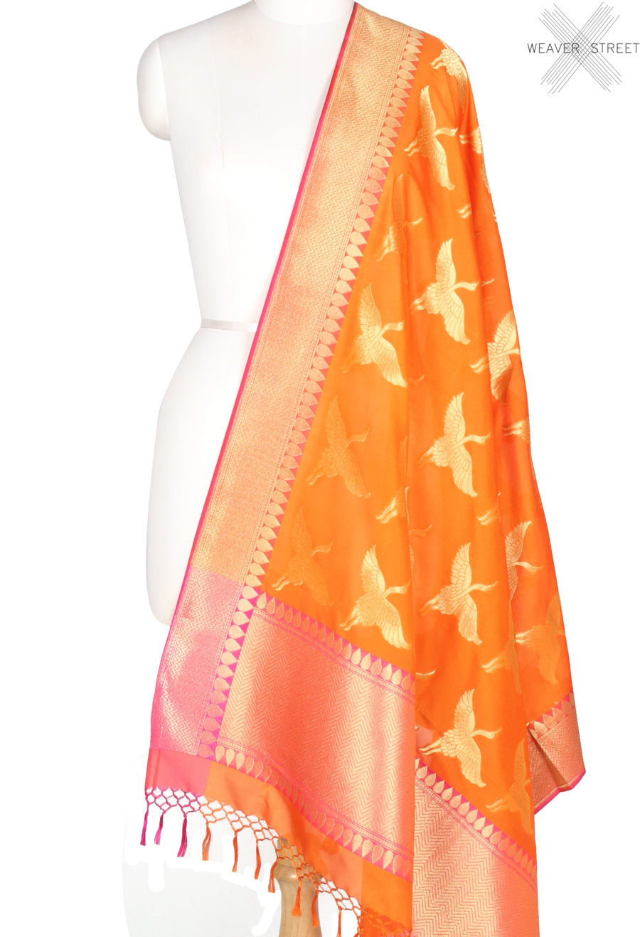 Orange Banarasi dupatta with flying stork motifs (1) Main