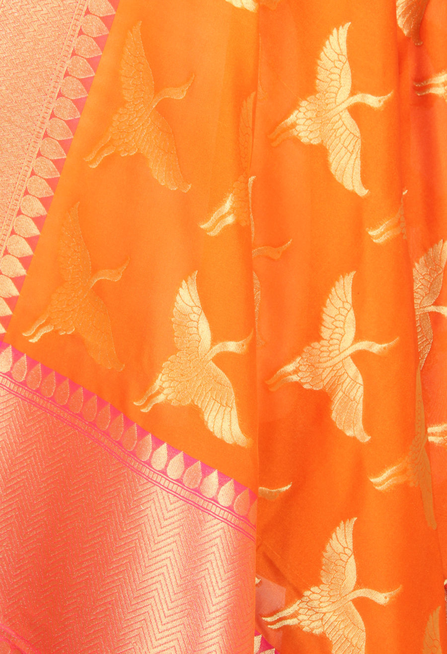 Orange Banarasi dupatta with flying stork motifs (2) Close up