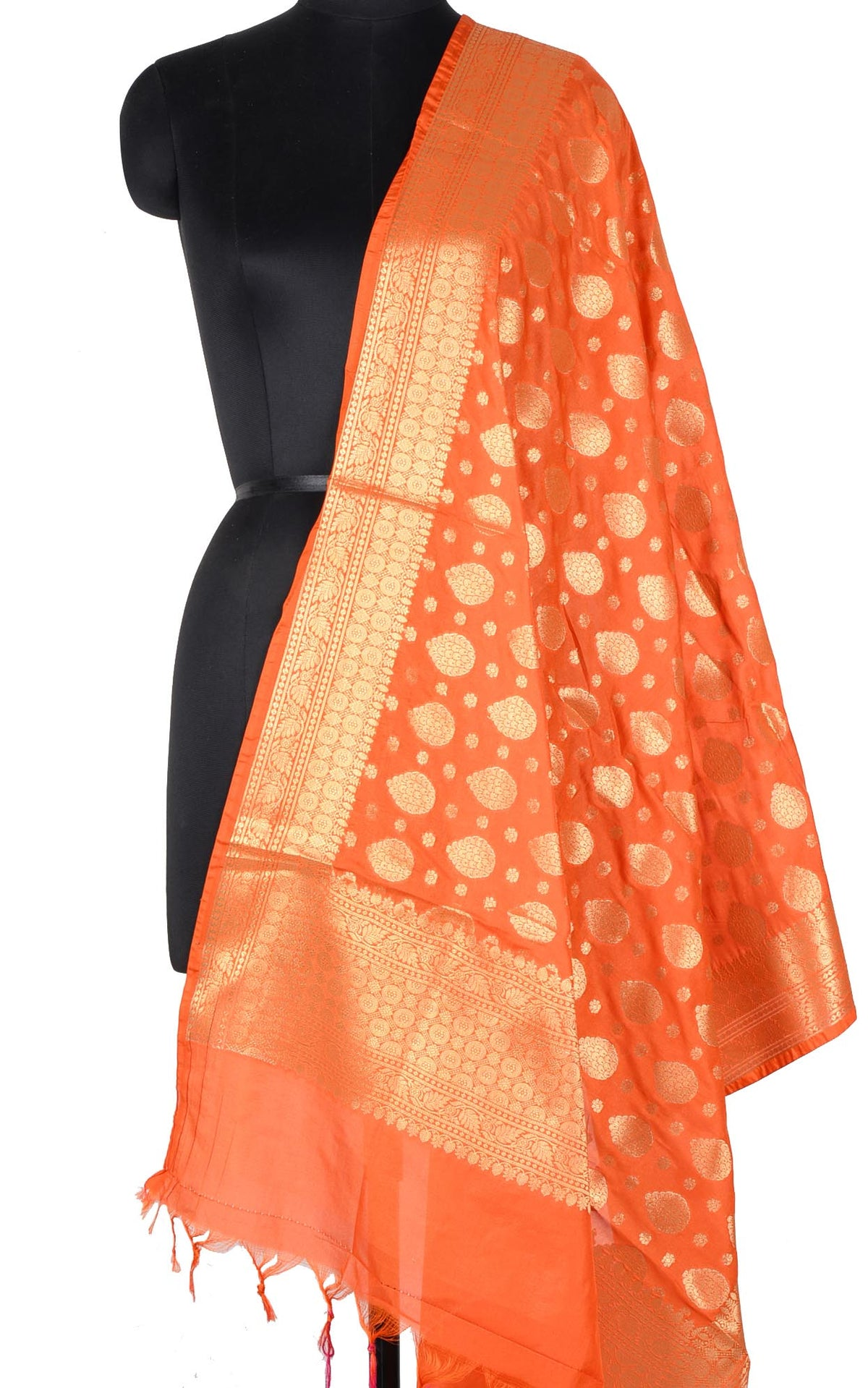 Orange Banarasi dupatta with leaf shape booti (1) Main