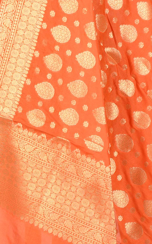 Orange Banarasi dupatta with leaf shape booti (2) Closeup