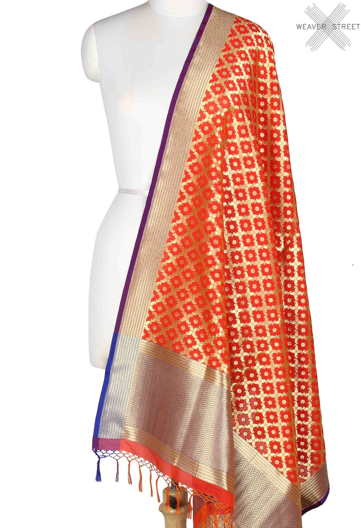 Orange Banarasi dupatta with mini flower motifs in paisley jaal (1) Main