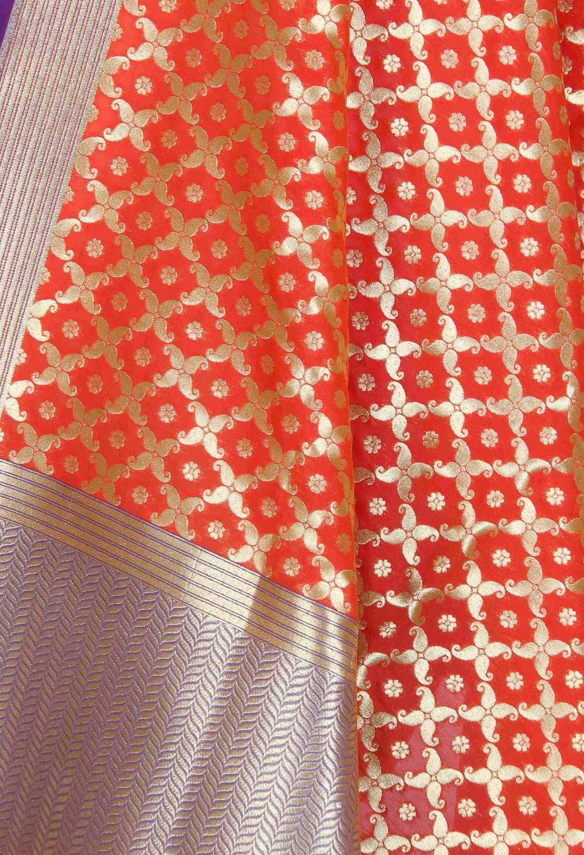 Orange Banarasi dupatta with mini flower motifs in paisley jaal (2) Close up