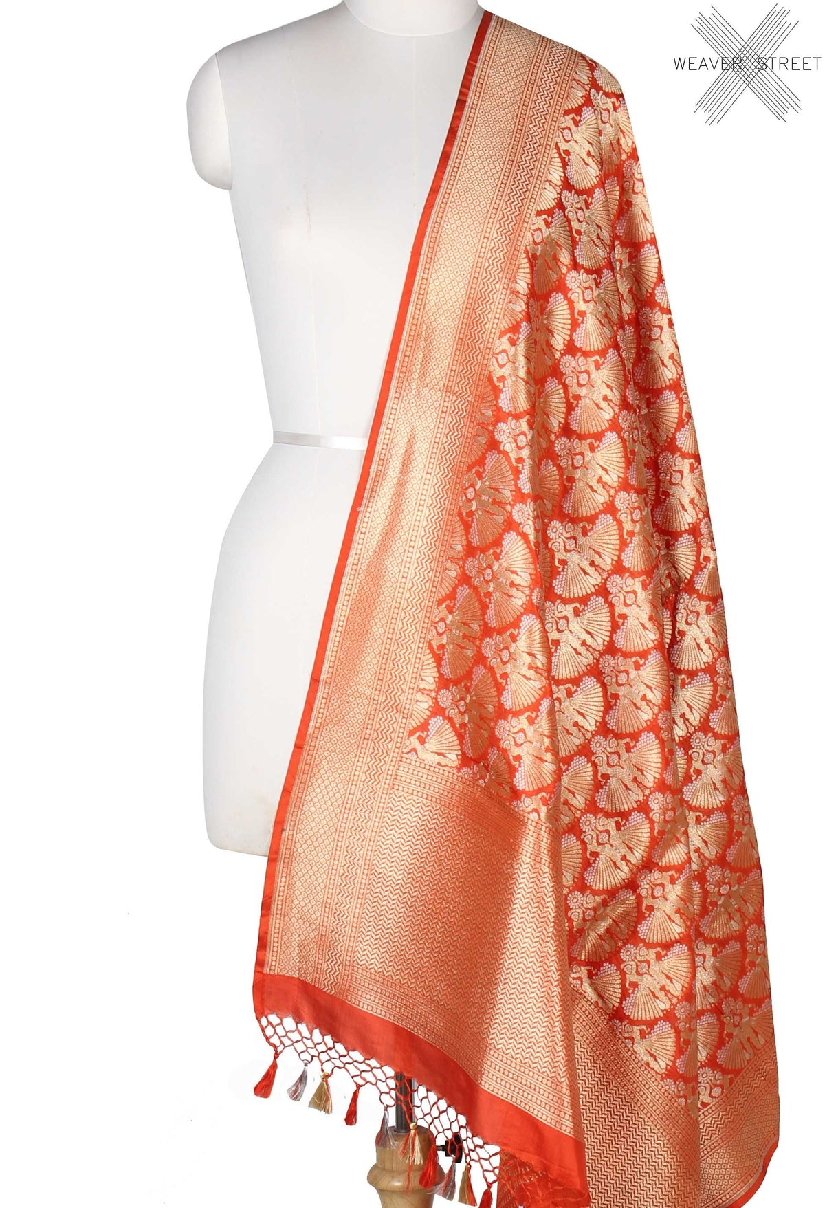 Orange Katan Silk Banarasi Dupatta with dancing lady in dual zari (1) Main