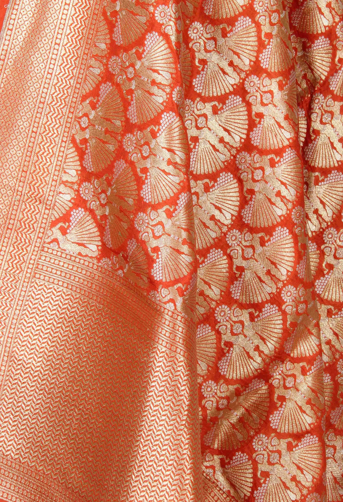 Orange Katan Silk Banarasi Dupatta with dancing lady in dual zari (2) Close up