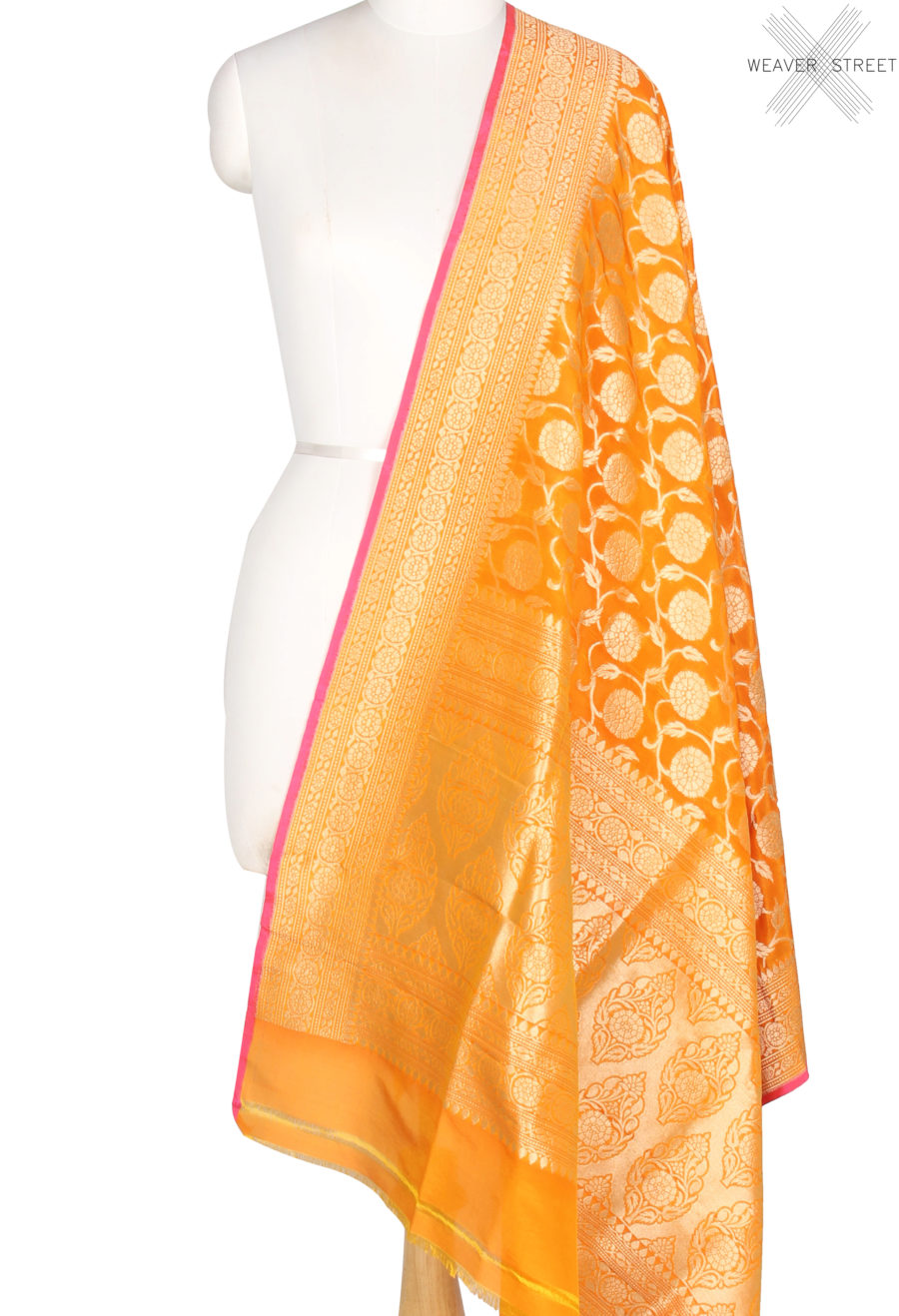 Orange Katan Silk Banarasi Dupatta with flower and leaf jaal (1) Main