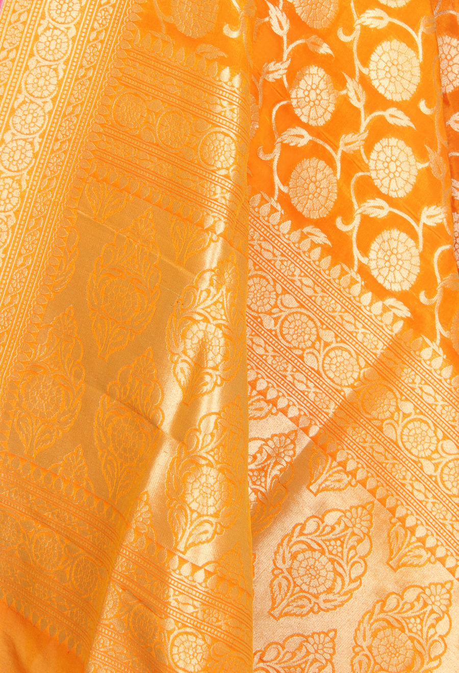 Orange Katan Silk Banarasi Dupatta with flower and leaf jaal (2) Close up