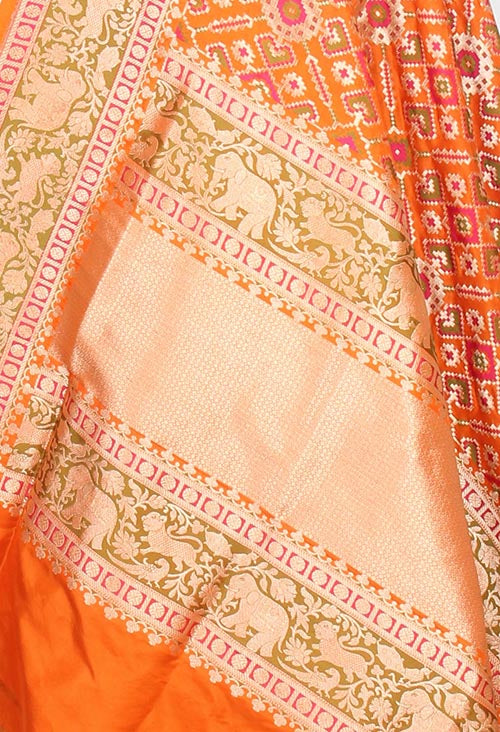 Orange Katan Silk Banarasi dupatta with meenedar patola jaal (2) closeup