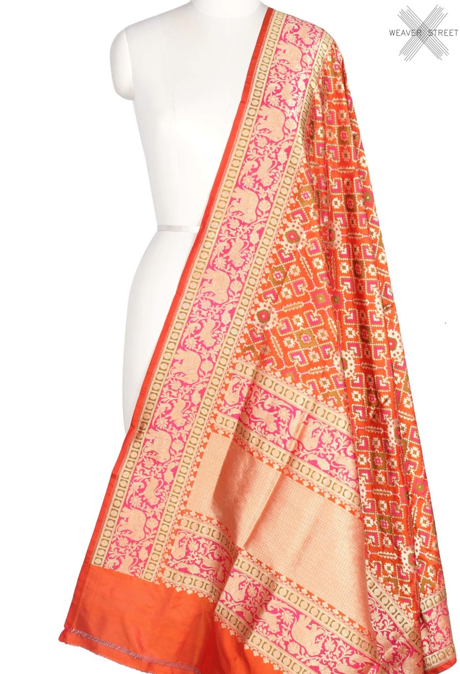 Orange Katan Silk Handwoven Banarasi Dupatta with meenedar patola jaal (1) Main