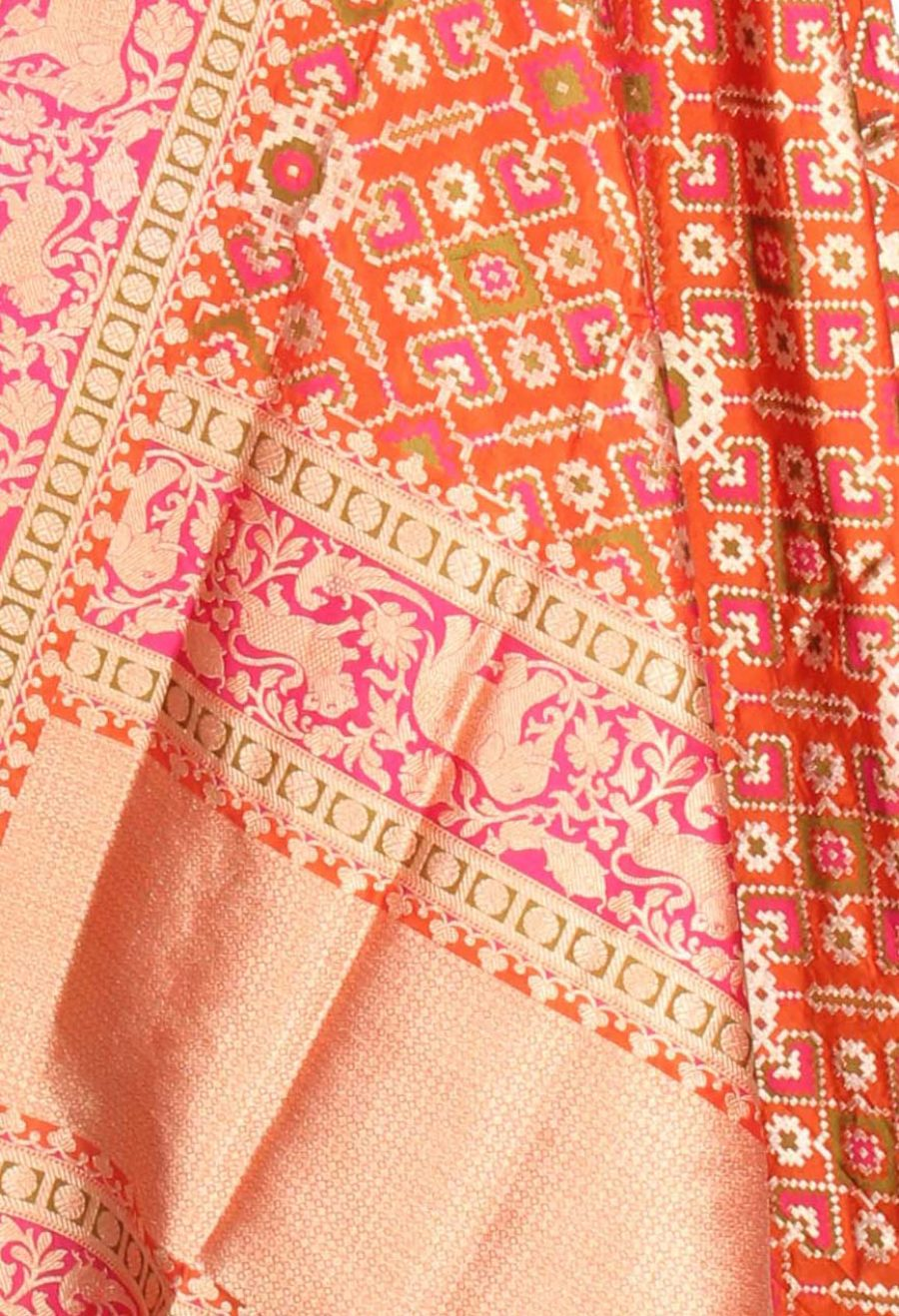 Orange Katan Silk Handwoven Banarasi Dupatta with meenedar patola jaal (2) Close up