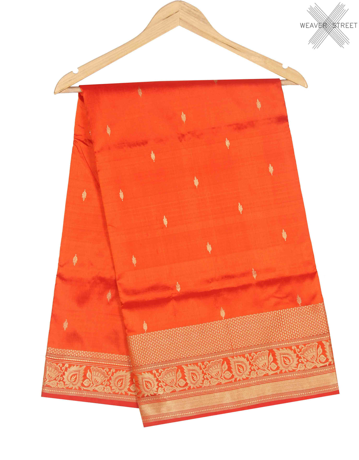 Orange Katan Silk Handwoven Banarasi saree with mini booti (1) Main