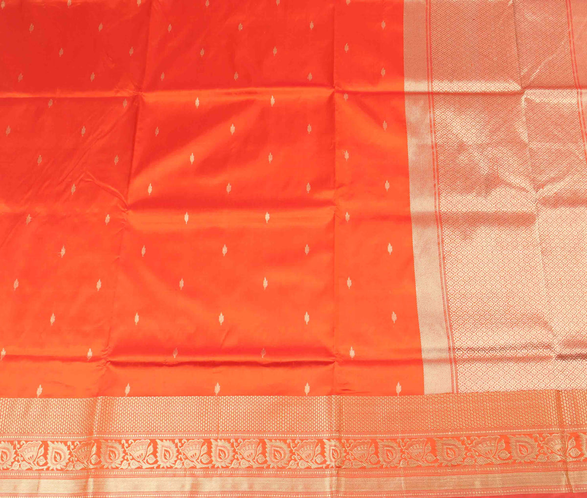 Orange Katan Silk Handwoven Banarasi saree with mini booti (2) Flat
